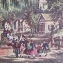 The Village Blacksmith Currier & Ives 1950s Print From An 1868 Lithograph w/Children Watching