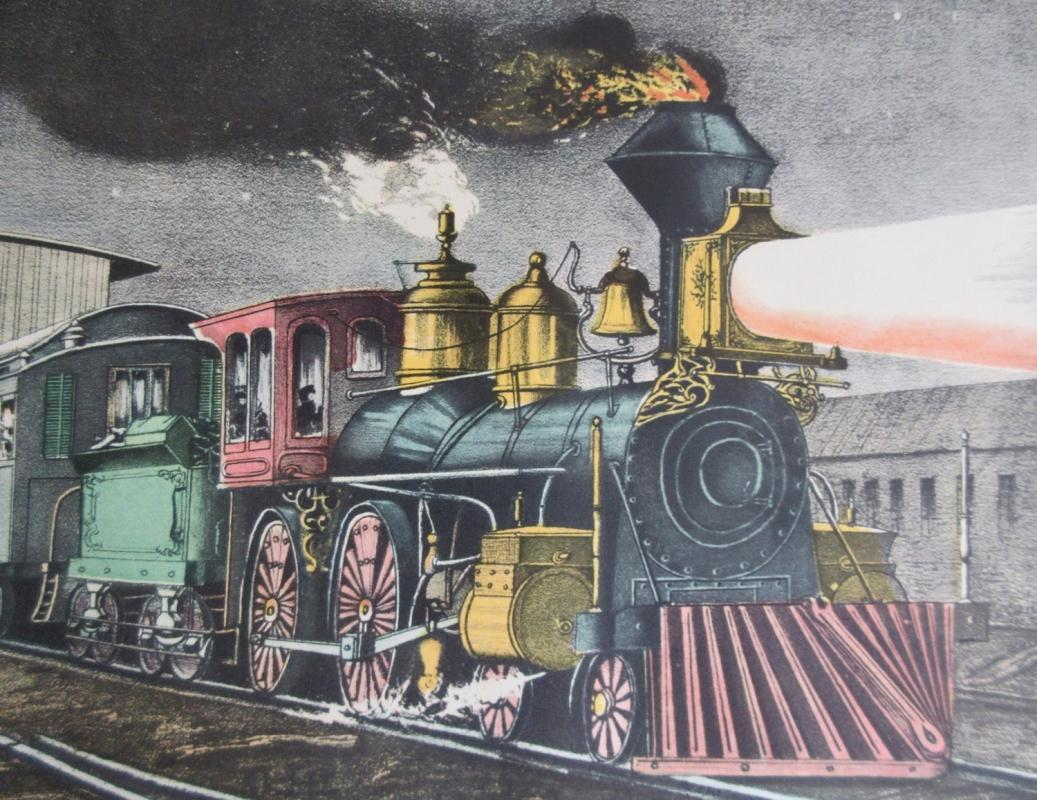 The Night Express: The Start Currier & Ives 1950s Print From An 1868 Lithograph w/Locomotive