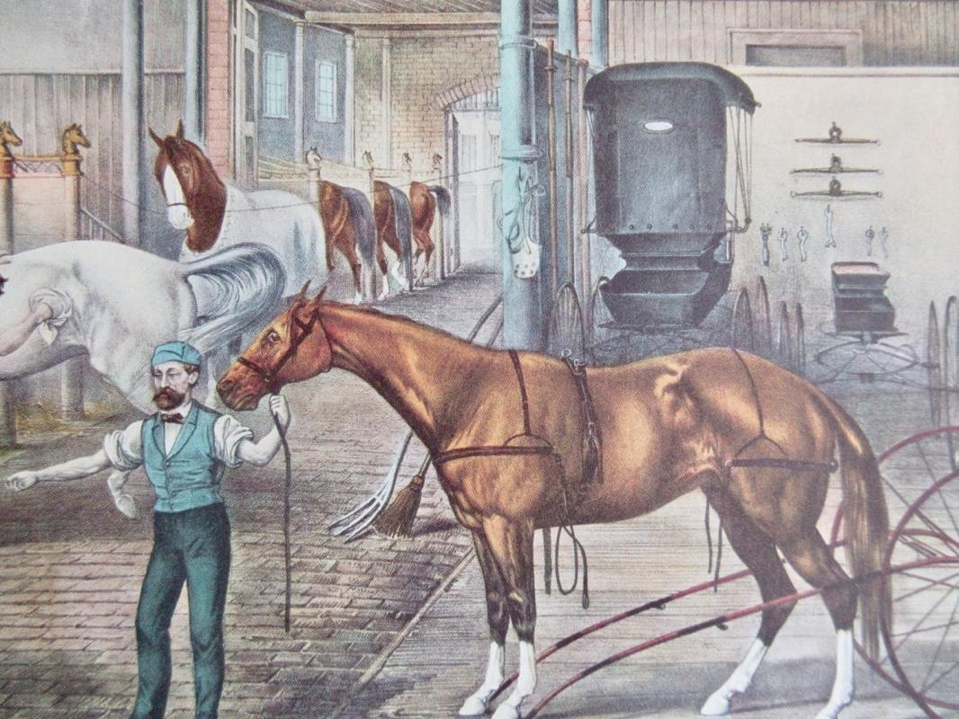 Trotting Cracks At Home Currier & Ives 1950s Print From An 1868 Lithograph A Model Stable