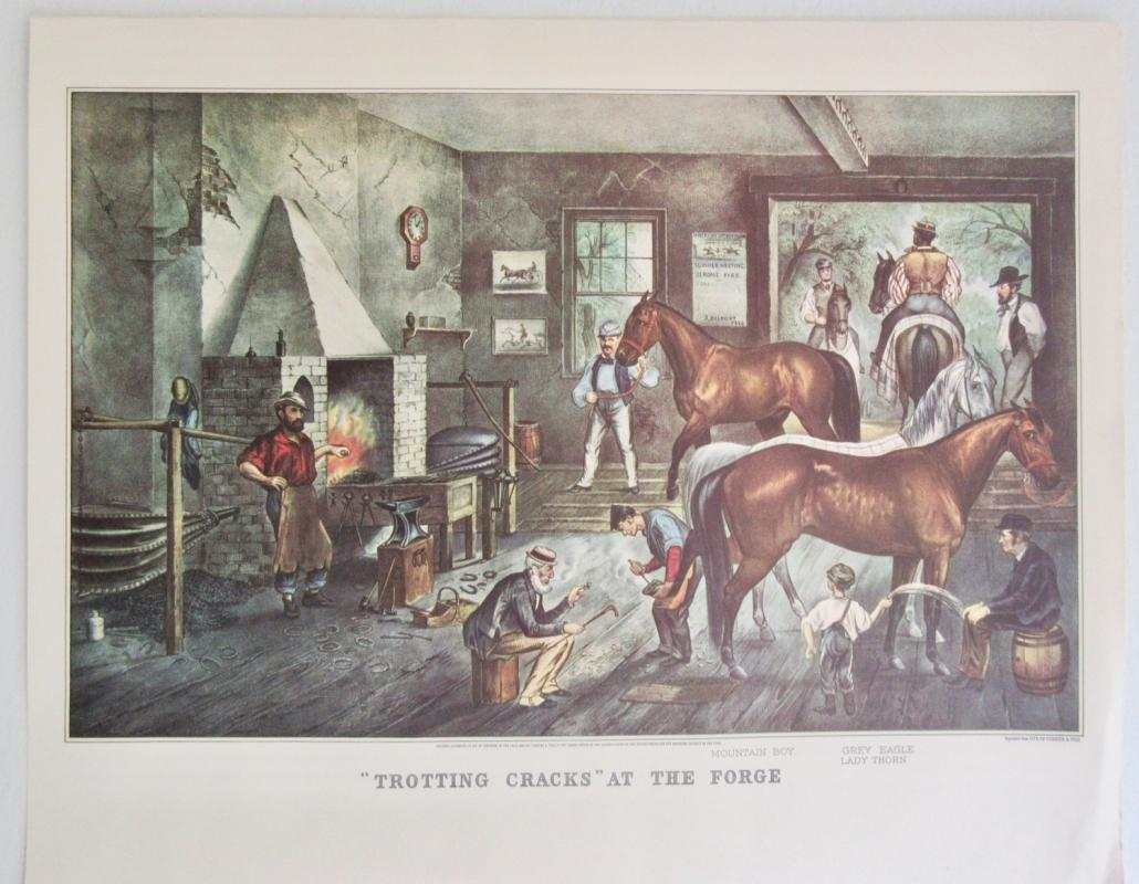 Trotting Cracks At The Forge Currier & Ives 1950s Print From An 1868 Lithograph Shoeing The Horses