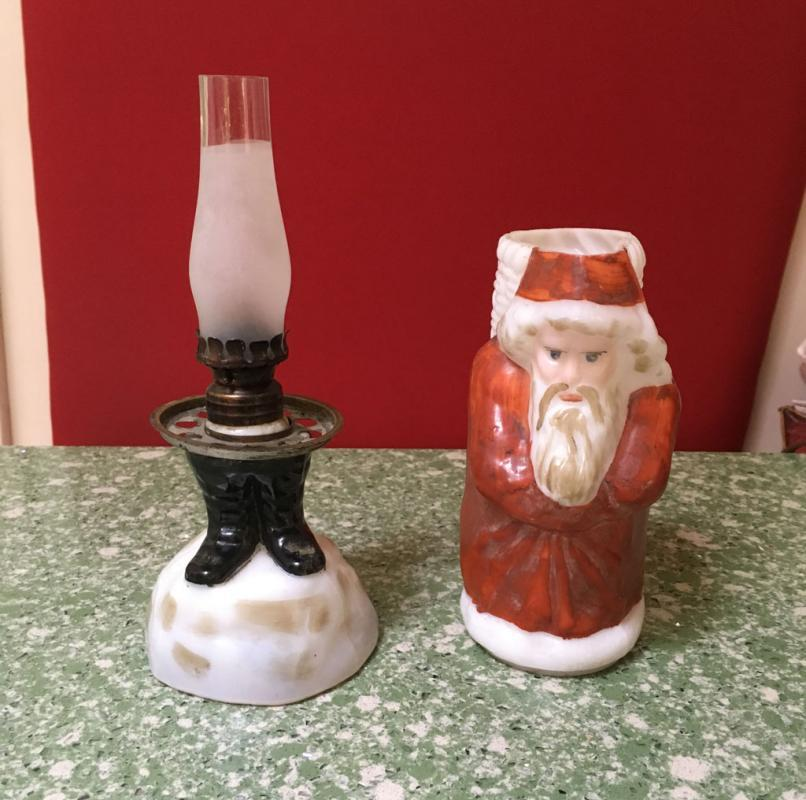 Hand Painted Glass Santa Kerosine Lamp