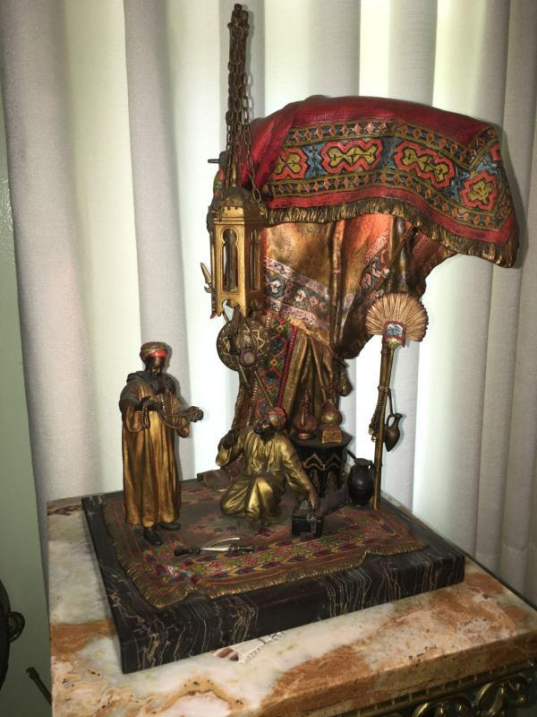 Austrian Enamled Bronze Lamp