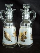 Anchor Hocking Gold Leaf Cruet Set