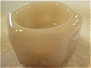 Pretty Custard Glass Pressed Glass Open Salt Dip