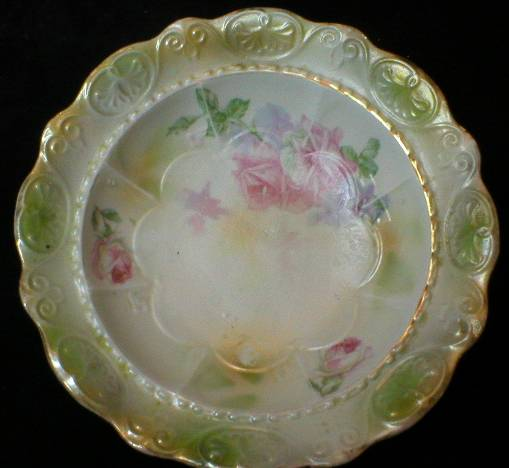 Pretty German Pearl Luster Glazed Berry Bowl