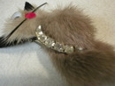 Adorable Mink and Rhinestone Cat Brooch
