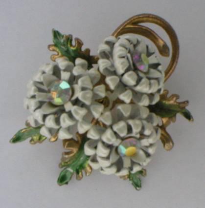 White Enamel Bouquet Brooch w/ Aurora Borealis Crystals