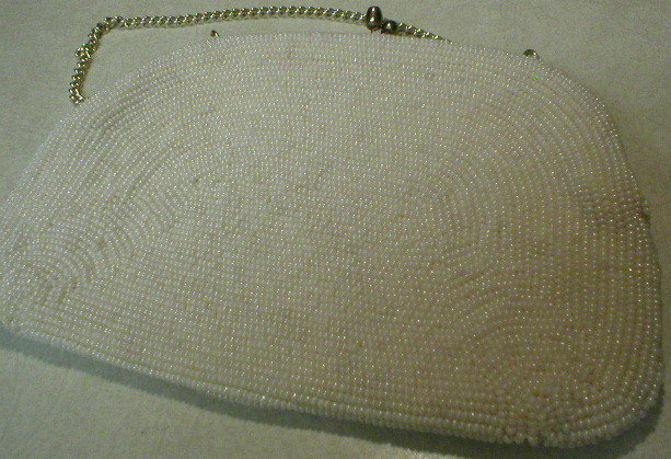 Vintage Ivory Glass Seed Beads Evening Purse