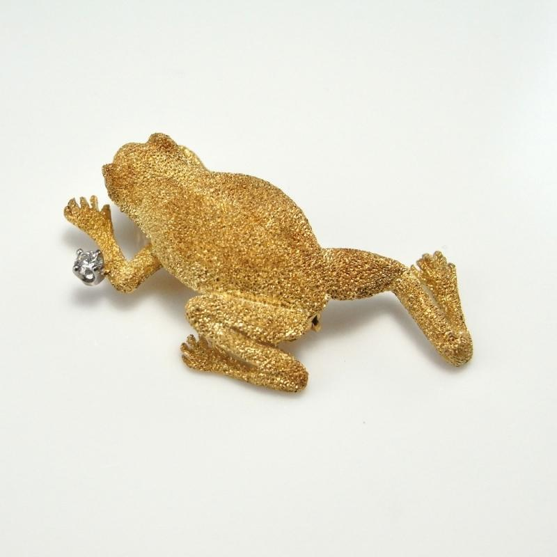 FROG PIN BROOCH DIAMOND 14K YELLOW GOLD Animal Jewelry Luxury Gold Brooches Tree Frogs