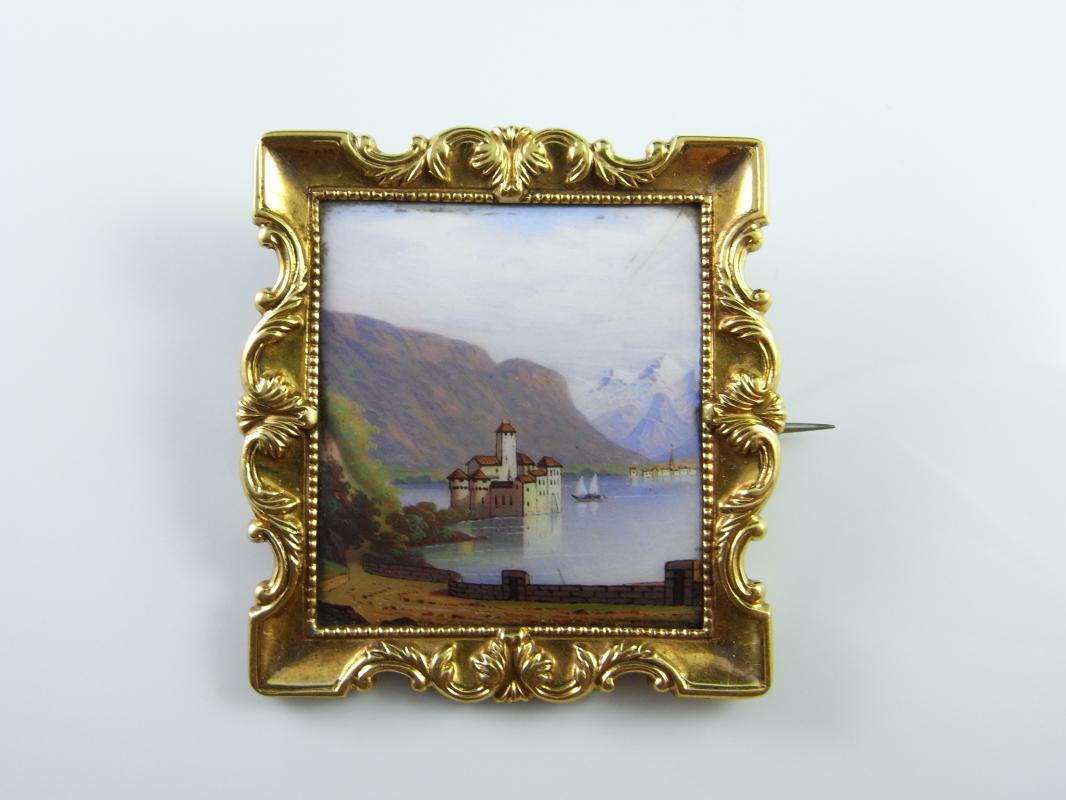 SWISS 18K ANTIQUE BROOCH PIN MINIATURE PAINTING LANDSCAPE CHATEAU CASTLE JEWELRY VICTORIAN 19th Century ONE OF A KIND CHILLON