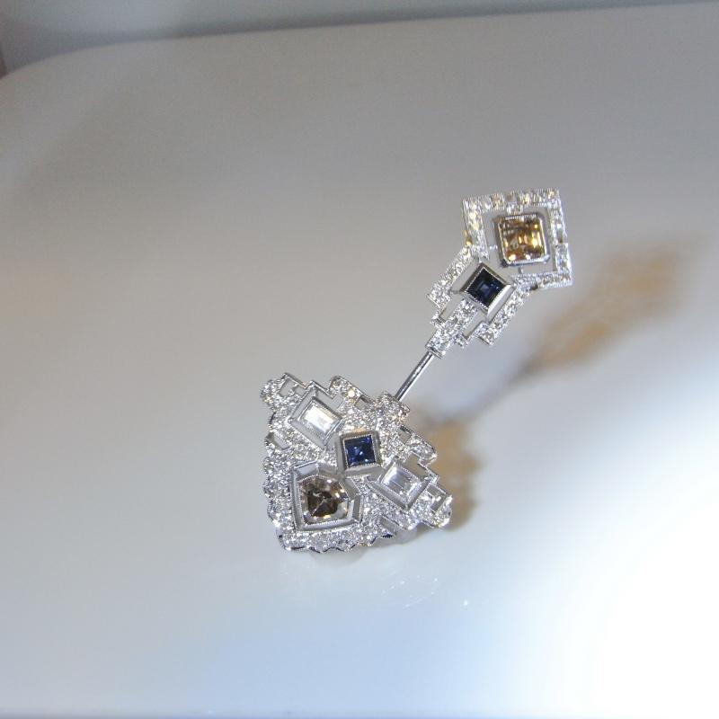 ART DECO DIAMOND JABOT PLATINUM Art Deco Color Diamond Brooch 7.12 tcw Fancy Diamond Jewelry Pin Jabot Clique 1930s 1920s 1940s Brooch Platinum 18K 22k Gold Ceylon Sapphire Pink Champagne Diamond
