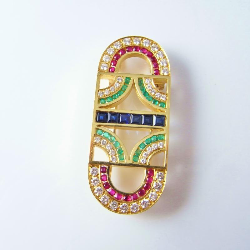 GEOMETRIC NATURAL RUBY SAPPHIRE EMERALD DIAMOND 18K GOLD BROOCH PIN PENDANT 1980s Modernist Statement Luxury Minimalist Jewelry