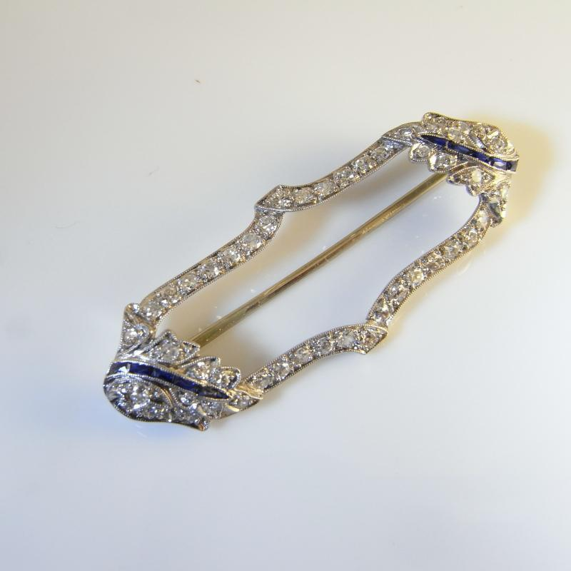 ART DECO OLD CUT DIAMOND SAPPHIRE PLATINUM PIN BROOCH Handmade Gatsby 1920s One of a Kind Artisan Wedding Anniversary Luxury ANTIQUE JEWELRY NATURAL SAPPHIRES
