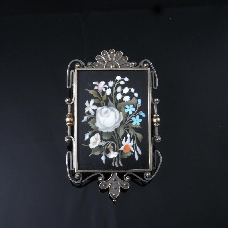 ANTIQUE PIETRA DURA GARDEN FLOWER FLORAL BOUQUET VICTORIAN 1850s Grand Tour Antique 19th Century Italian Italy Giardinetti Bouquet Floral Jewelry Onyx Agate ONE OF A KIND ARTISAN