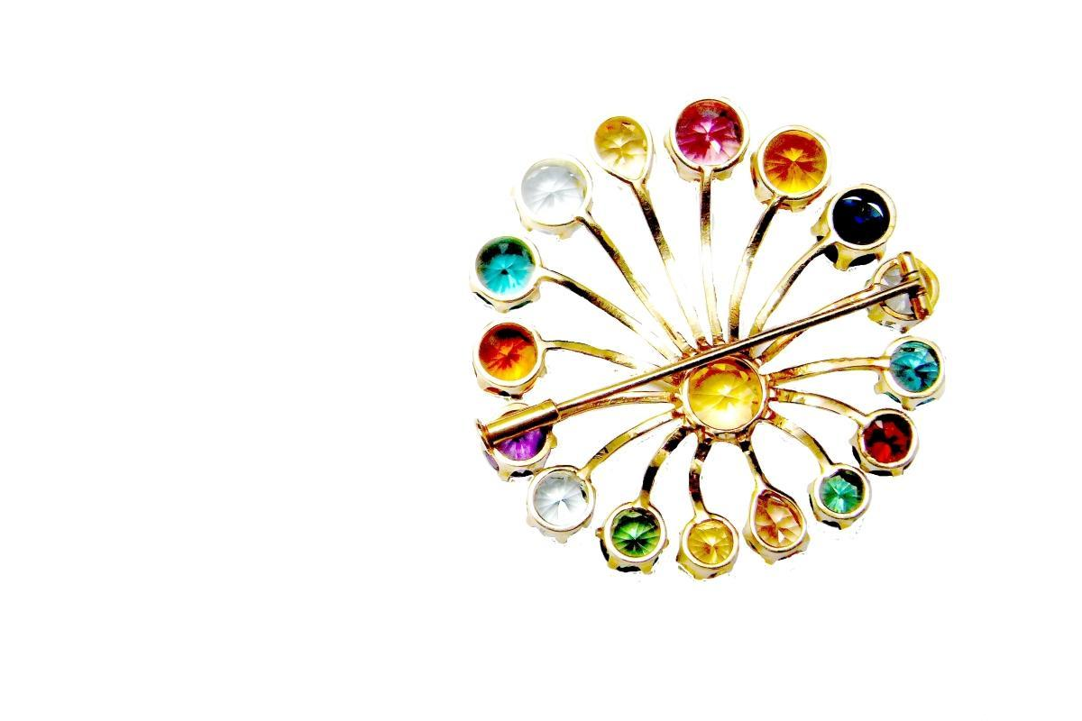 SPUTNIK RAINBOW Brooch Pin 1950s Starburst MultiGem Tourmaline 10K Gold Mid Century Modernist One of a Kind High End Luxury Old Hollywood Glamour Tutti Frutti Indicolite Rubellite Imperial Topaz Aquamarine Paraiba Multicolor Modernist Vivid Gem