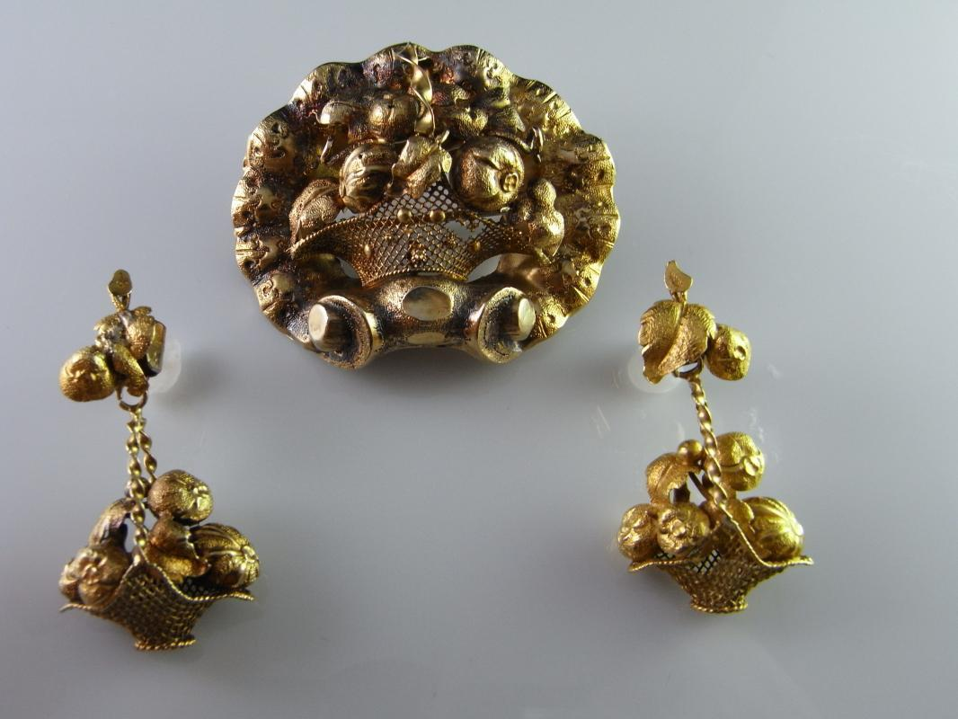 VICTORIAN FRUIT FLOWER BASKET ORNATE GOLD 14K EARRINGS BROOCH PIN SET DEMI PARURE Antique 1870s Jewelry 19th Century One of a Kind Heirloom Floral Bridal Wedding