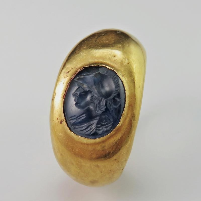 IMPORTANT ANCIENT SEAL Ancient Roman Sapphire Intaglio 22K Gold Signet Ring circa 2nd C AD Antique Intaglio Gold Signet Ring Antique Signet Gold Ring Ancient Greek Roman Cameo Ring Engraved Gem Pre Georgian Jewelry Gold Ring