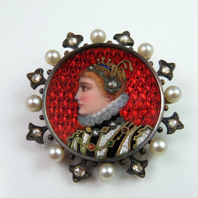 ANTIQUE Victorian Enamel Portrait Brooch Diamond Pearl 18K Gold Brooch Enamel Jewelry Rose Cut Diamond Medieval Tudor Georgian Victorian Renaissance Revival Brooch Miniature Painted Enamel