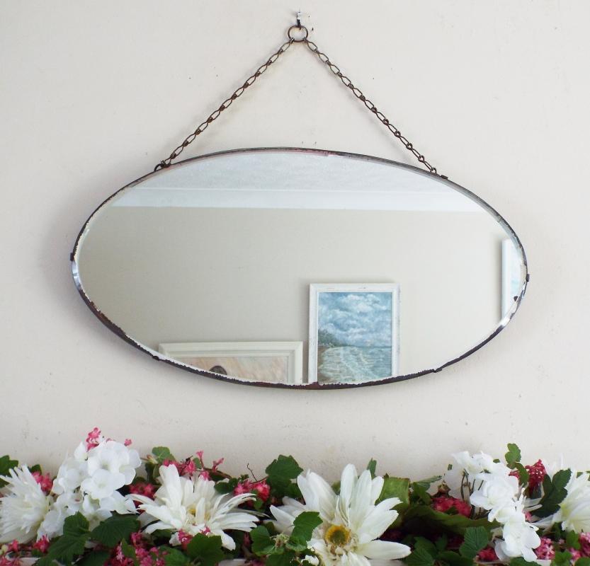 Art Deco Mirror Vintage Mirror Oval mirror frameless mirror M398