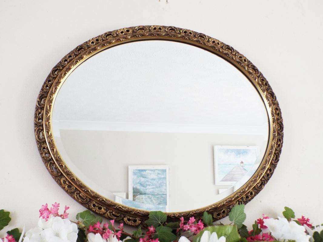 Gold Framed Antique Mirror, Gesso Wooden Framed Mirror, Oval Mirror Gilt mirror M401