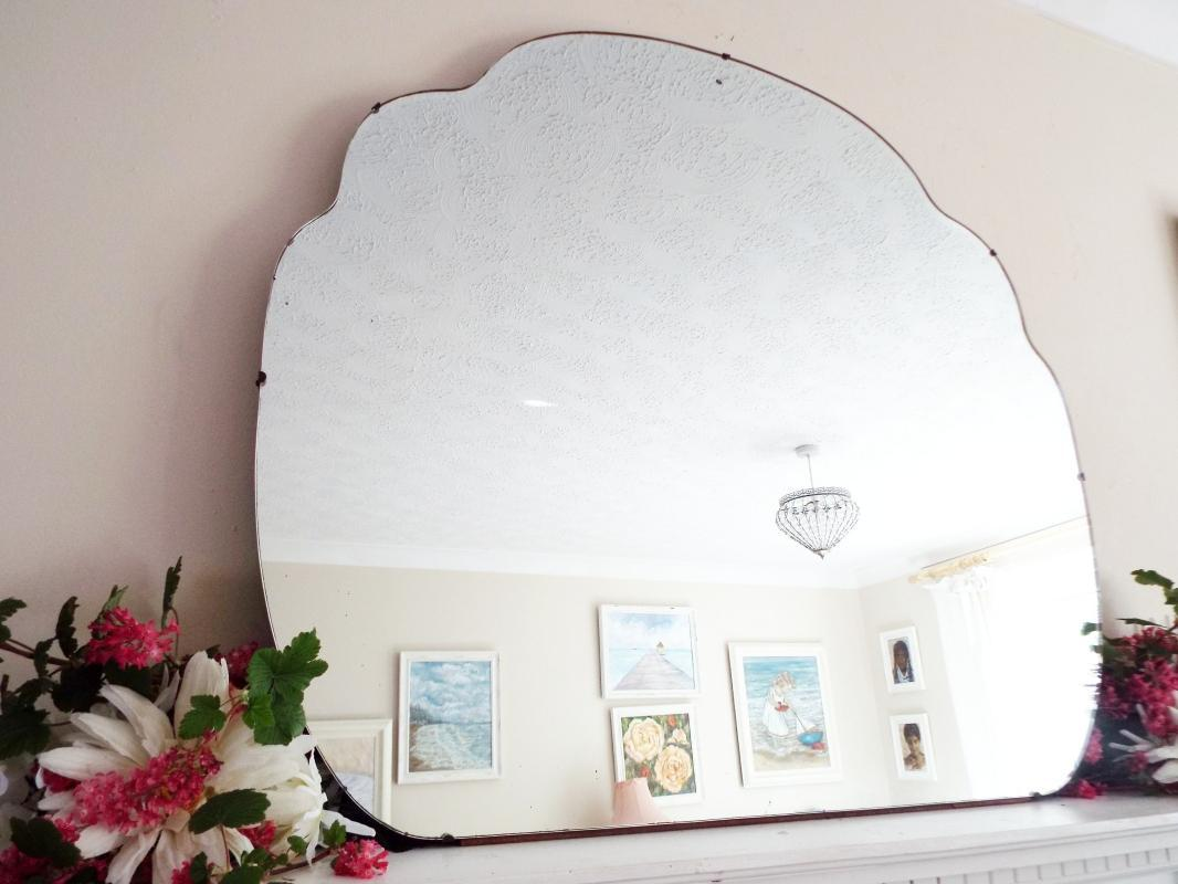 Extra Large Antique Mirror Art Deco Mirror Frameless Cloud Shaped Mirror Feature Wall Mirror  M403