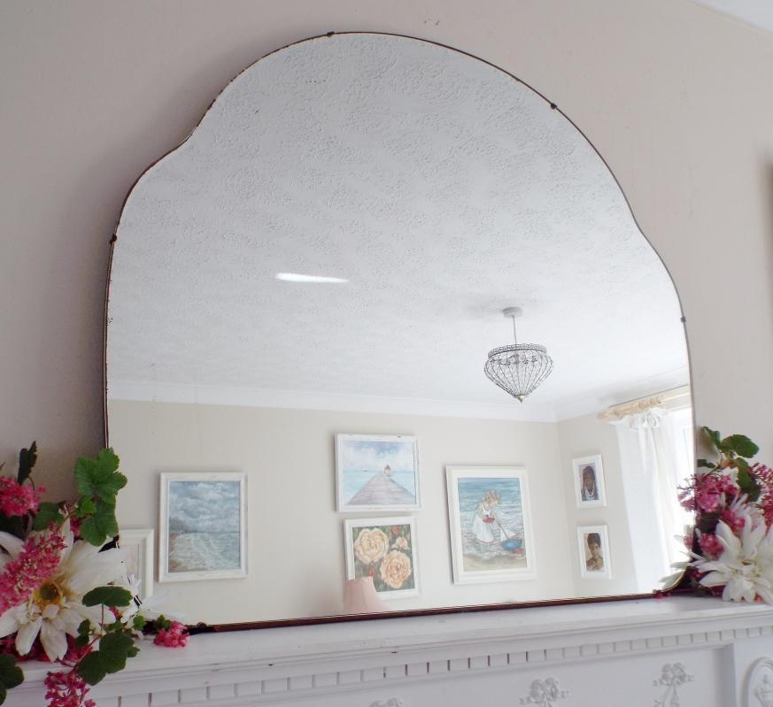 Extra Large Antique Mirror Art Deco Mirror Frameless Cloud Shaped Mirror Feature Wall Mirror  M404