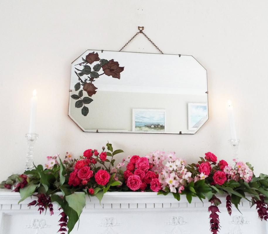 Vintage Mirror Antique  Mirror Frameless mirror Bevelled Engraved Glitter Flowers Wall Mirror Beveled Edge Mirror Red roses mirror M272