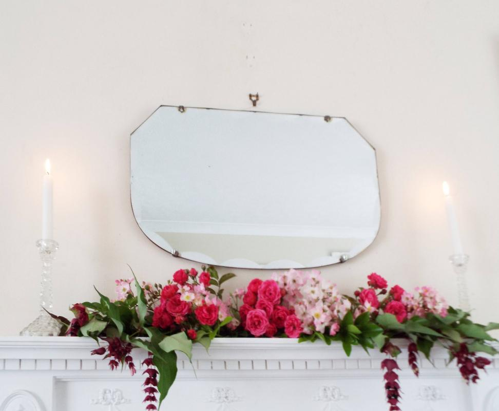Antique Mirror Vintage Mirror Art Deco mirror Bevel Scallop Edge Mirror Shaped Mirror Antique frameless mirror French shabby chic M277
