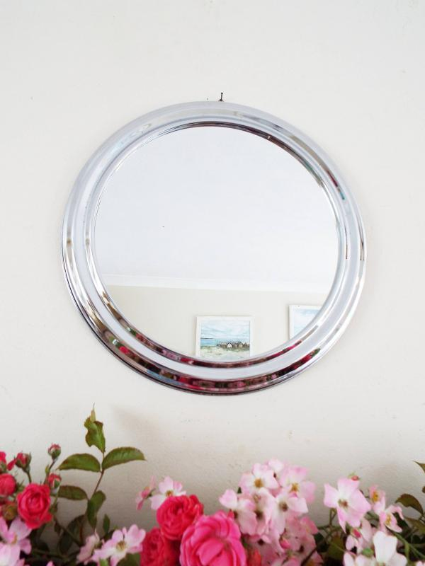 Mid Century Modern Mirror Round Mirror Chrome Framed mirror Atomic Mirror Retro decor M274