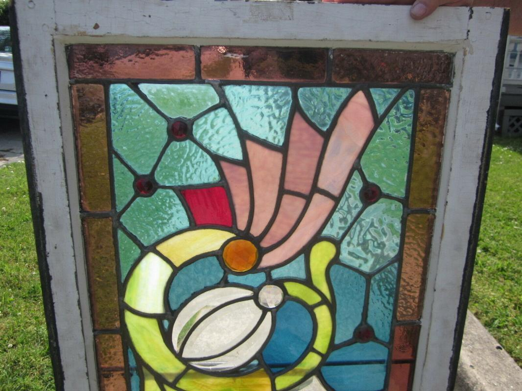 c.1910 Antique Combination Stained Glass Transom Window, 17 jewels, original frame