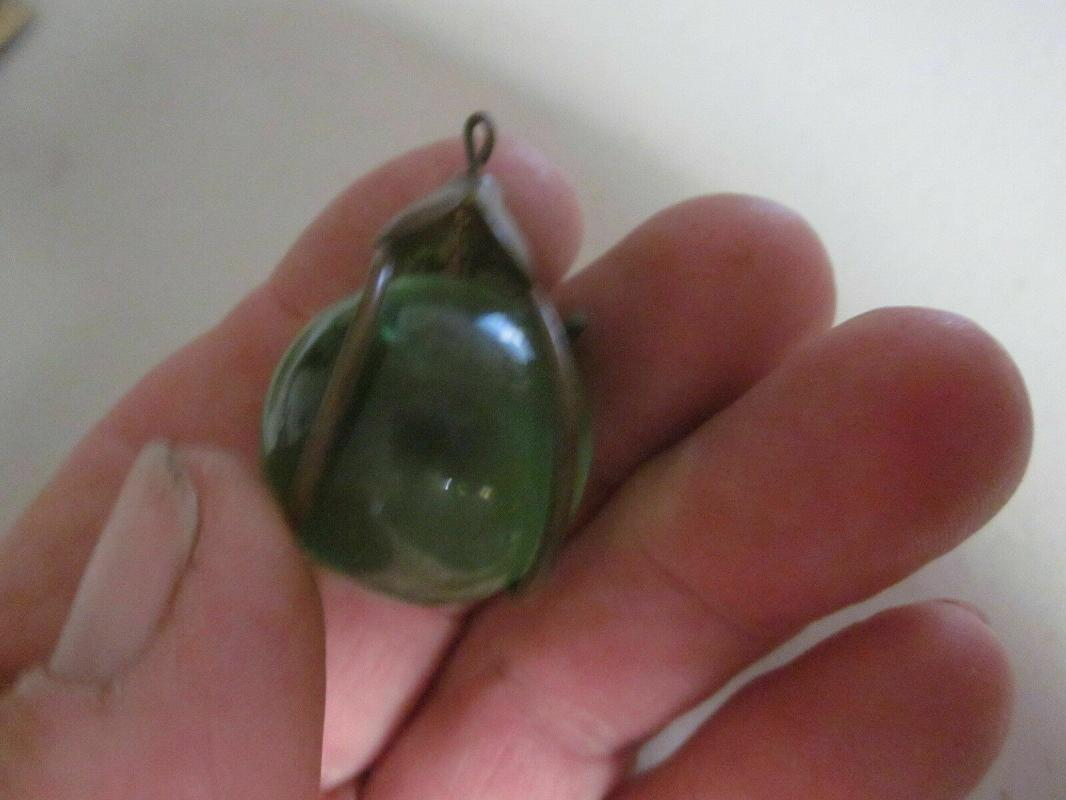 Victorian Green Glass with a bronze wrap, Light Pull, for overhead light
