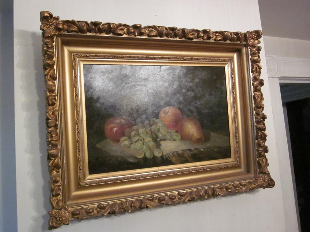 an extremely nice still life, unsigned, frame 25 inches long x 19 inches tall