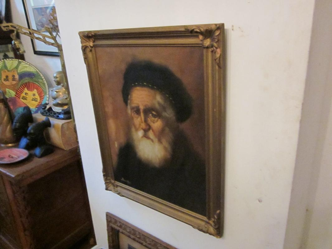 Portrait oil painting on canvas w/ faded gold plaster frame, signed Duuden