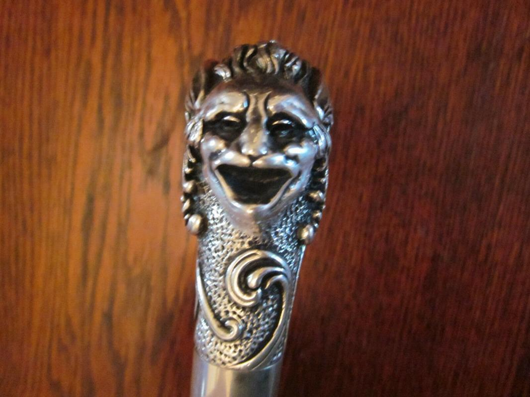 Antique Art Nouveau Ebonized Cane w/ a Solid Silver Gothic Gargoyle w/ a snake
