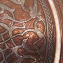 Antique Cairo-ware / Damascene Tray, copper / bronze w/ silver, possibly Qajar