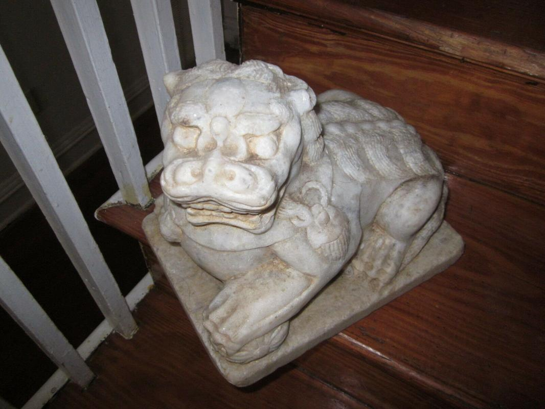 Antique or Vintage pr. Chinese Carrara Marble Guardian Foo Dogs, heavy for their size