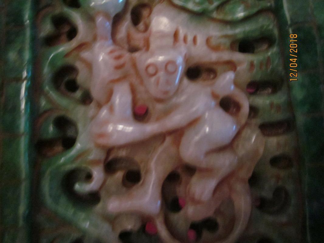 Fantastic Green / White Jadeite [S.G.=3.17] Monkey Amulet, 159 grams