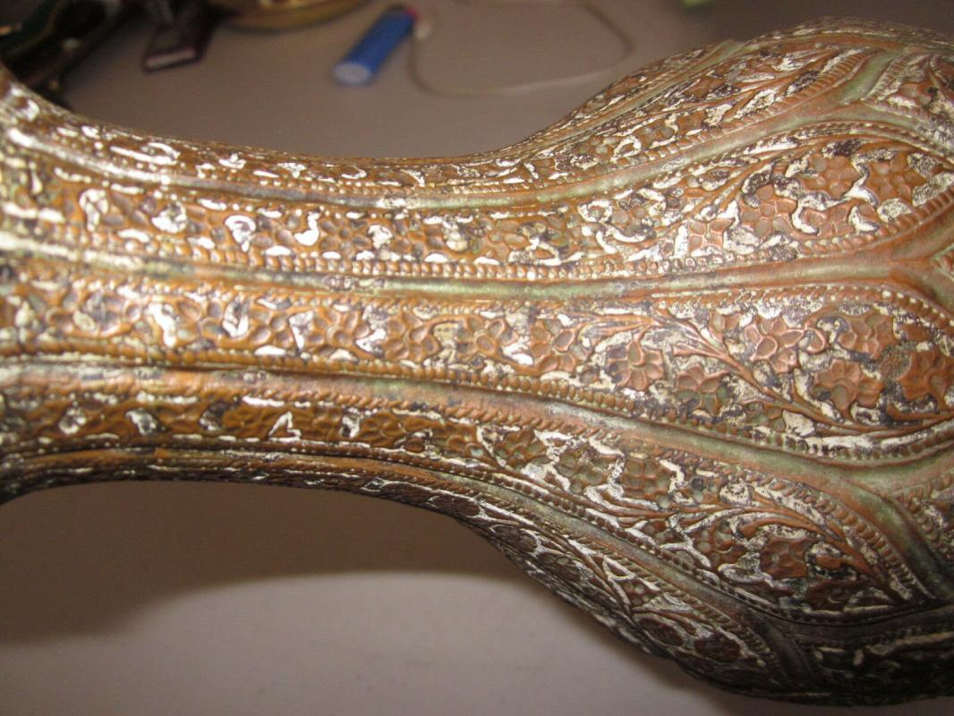 Antique Kashmiri Copper Hookah Base, flowers and vines, chased