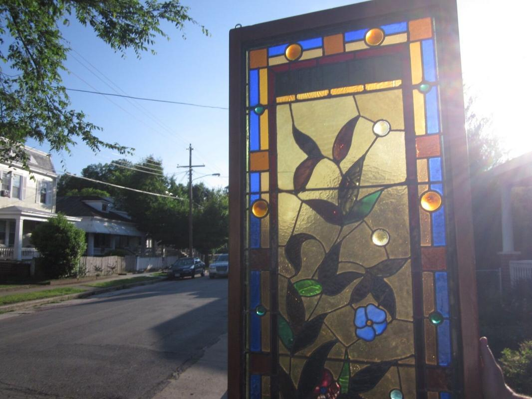 c.1890 Aesthetic Victorian Stained Glass Window, 85 inches tall, many jewels