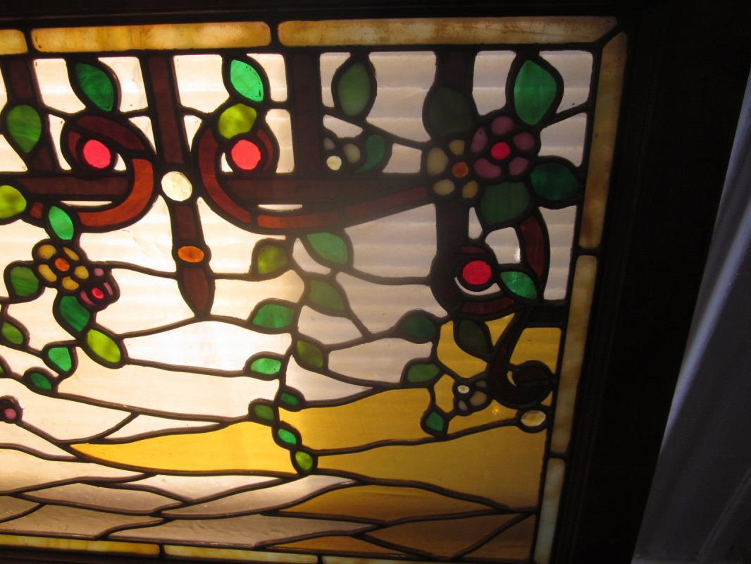 Antique Victorian Stained Glass Window, trellis w/ fruit, 15 jewels, original frame