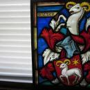 Antique Ornate Swiss Stained Glass Window, signed Fritz Haufler