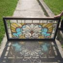 c.1910 Antique Combination Stained Glass Transom Window, 5 jewels, orig frame