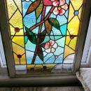 c.1890 Antique Aesthetic Combination Stained Glass Window, 18 jewels, old frame
