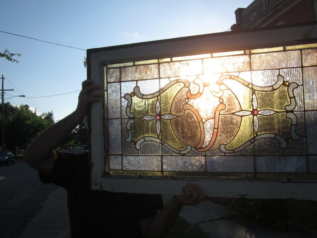 c.1890 Victorian Antique Stained Glass Window, 9 jewels, crack free