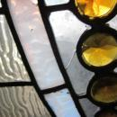 c.1890 Victorian Antique Stained Glass Gothic Arch window, 30 jewels of all sizes