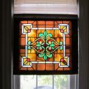 c. 1900 Antique Stained Glass Window, 4 jewels