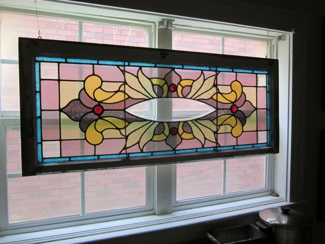 c. 1910 nice Antique Stained Glass Combination Window w/ 5 bevels and 4 jewels