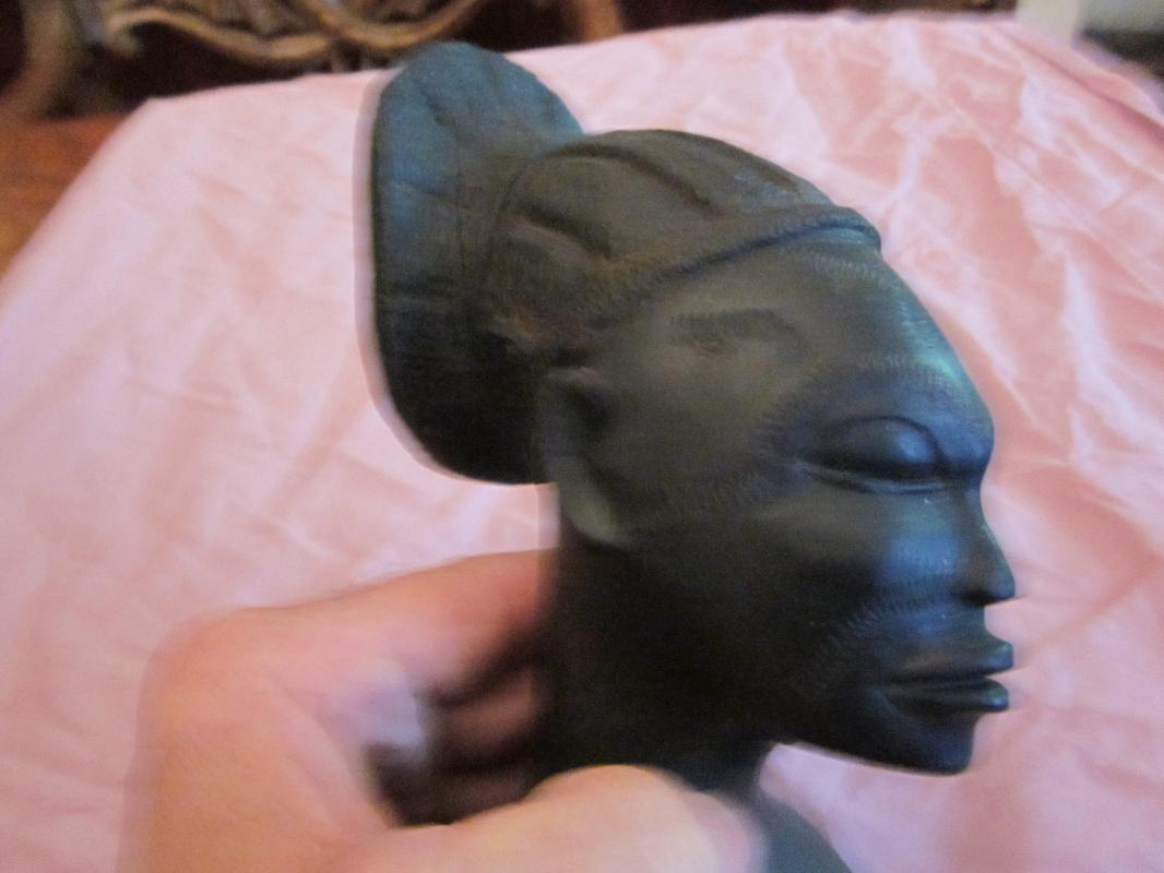 antique African Carved Ebony Female Bust Statue, excellent carving, 810+ grams