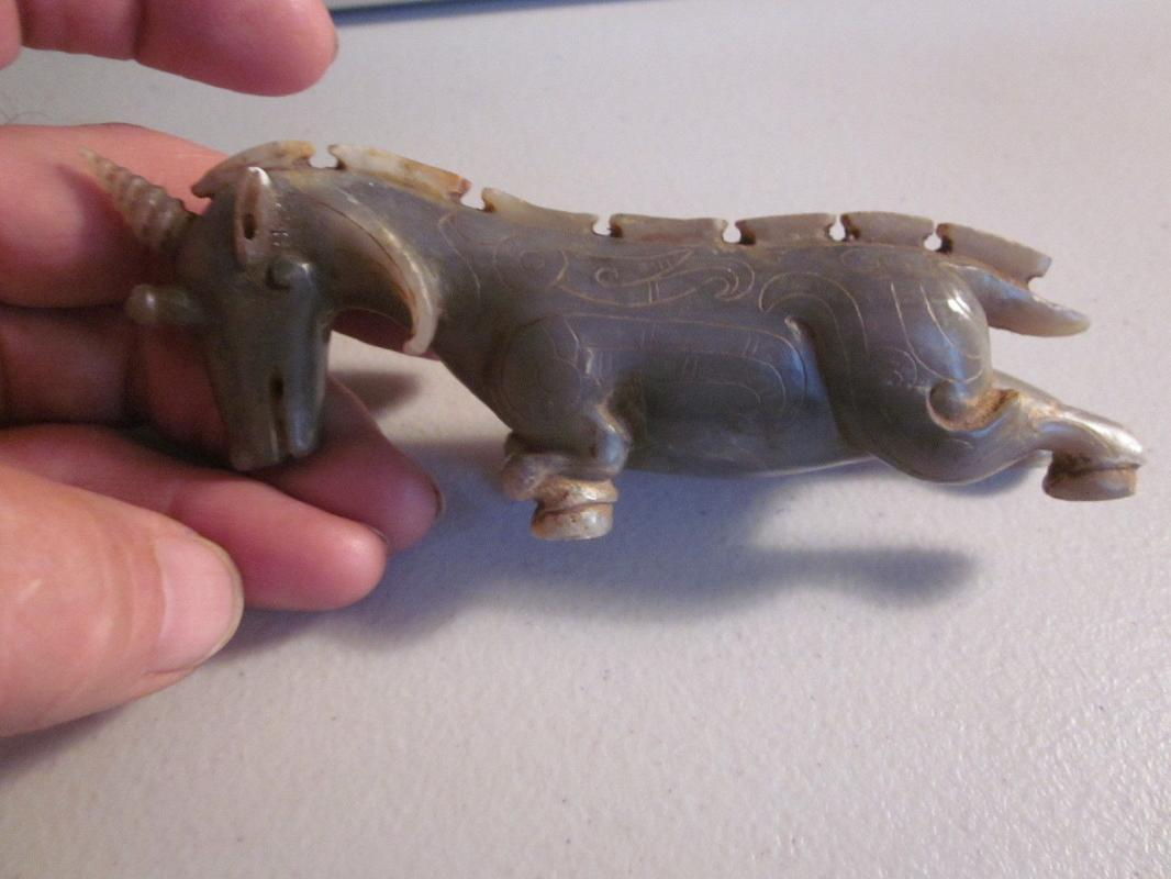 Chinese Nephrite [S.G.=2.95] One-Horned Goat or Antelope Figurine