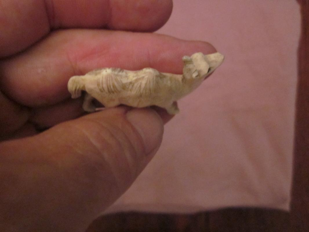 old Japanese Carved Ivory Okimono of a Standing Camel